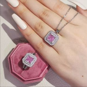 925 Sterling silver necklace ring Women pink shiny